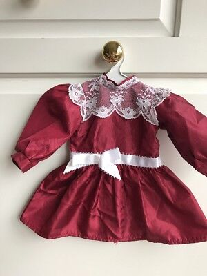 AMERICAN GIRL DOLL SAMANTHA SATIN LACE Maroon HOLIDAY DRESS  & Hanger