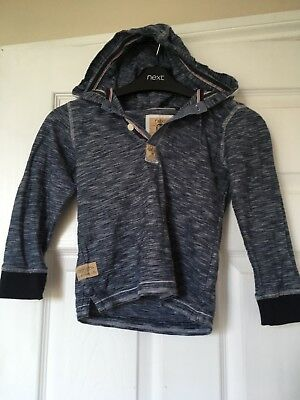 Boys NEXT long sleeve Blue patterned Hoody 4-5 years exc condition