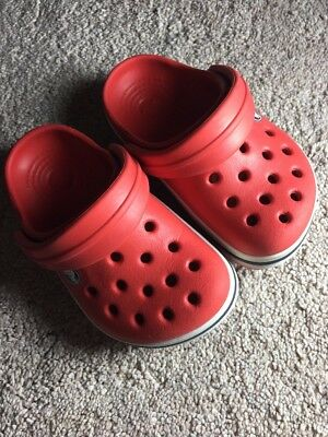 Crocs Original Kids Infants Boys Girls Unisex Red Sandals Beach Shoes - UK 4-5