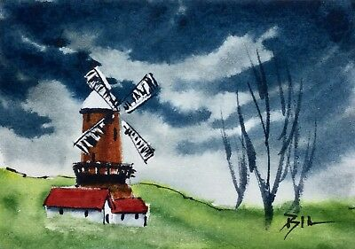 ACEO Original Art Watercolour Painting by Bill Lupton - Windmill