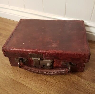 Small Vintage Suitcase Leather  WWII children  Evacuee suitcase