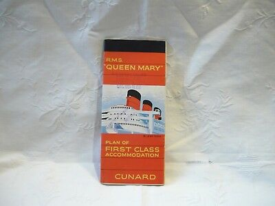 Vintage R.M.S.Queen Mary Cruise Ship Deck Plan Pamphlet- First Class- Cunard