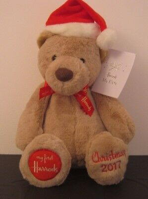 **Harrods Baby's First Christmas 2017** so soft teddy bear large 36cm  FREE POST