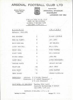 ARSENAL RESERVES v NORWICH CITY 84-5 Football Combination Programme