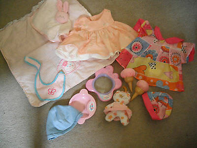 "Bundle baby doll clothes and accessories 12"" - 14"" doll baby born plate"