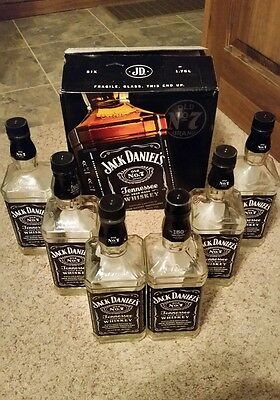 Lot Of 6 Empty 1.75 Liter Jack Daniels # 7 Bottles and Box 1.75 Liters L Bottle