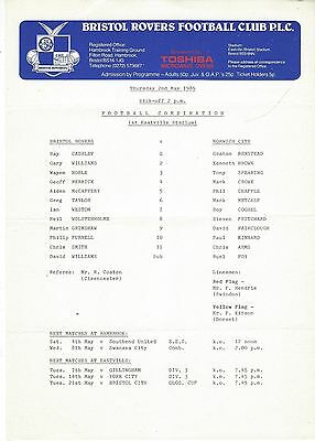 BRISTOL ROVERS RESERVES v NORWICH CITY 84-5 Football Combination Programme
