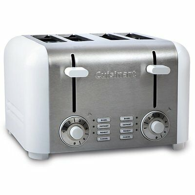 New CUISINART CPT-340WC 4-Slice Toaster, White and Silver