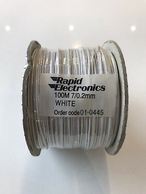 Rapid Electronics 1000 mm 7 / 0.2 mm White Rapid Code 01 - 0445 100M Meter New