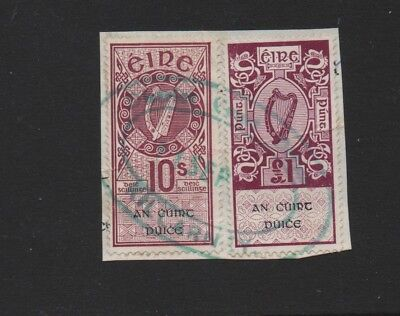 Ireland 2 H/v Revenue Stamps  £1 And 10/- Used On Piece. Killarney Cancelled