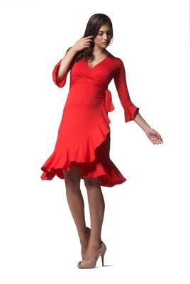 Isabella Oliver Scarlet Red Ruffle Frill Wrap Maternity Dress 3 UK 12 40 BNWT