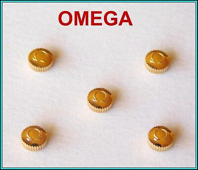 5 (five) Original OMEGA Watch Crowns GOLD PLATED - N.O.S. - 4 mm - STEM: 0.90
