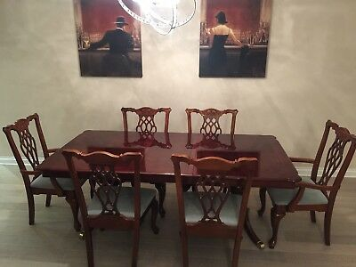 Dining Table and 6 chairs Extendable Reproduction Chippendale Style