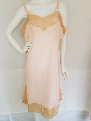 Vtg GODFRIED 100% Rayon Full Slip Pale Pink w/ Tan Lace Size 40