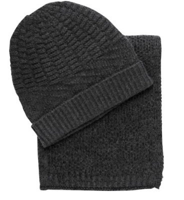 $79.50 New Jos A Bank wool blend Knit Scarf and Hat set in Grey  FREE SHIPPING