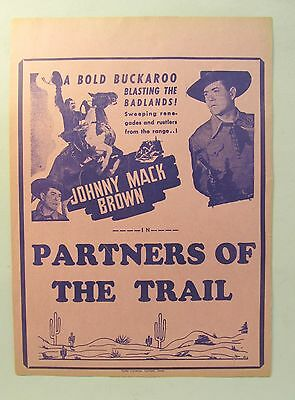 movie broadside 1944 JOHNNY MACK BROWN in PARTNERS OF THE TRAIL