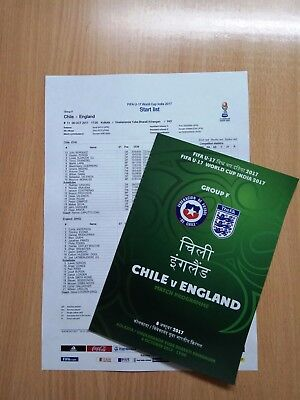CHILE v ENGLAND 8 October 2017 WC U17 GROUP from India FAN prg + OFFICIAL LU