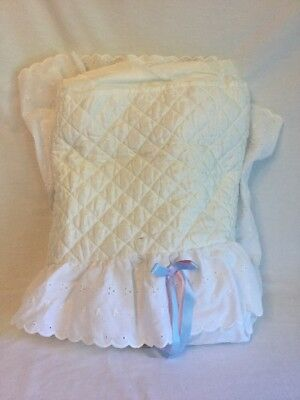 White Eyelet Bassinet Oval Liner Skirt Quilted Cover Lambs And Ivy