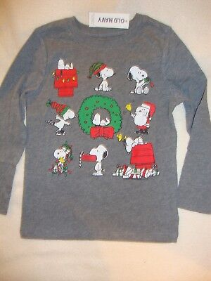Old Navy /  Peanuts Snoopy Christmas  Graphic  Tee Shirt Nwt