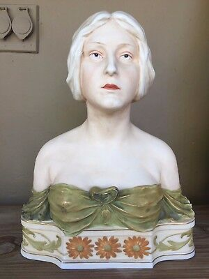 Royal Dux Vintage Porcelain Bust of a Maiden. Marked on the bottom