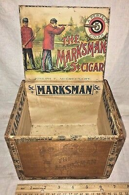 Antique Wood Cigar Box Vintage Tobacco The Marksman Soldier Uniform Rifle Gun