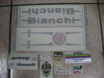 adesivi Bianchi bici Bicycle Vinyl Decals Stickers Frame Replacement Set vintage