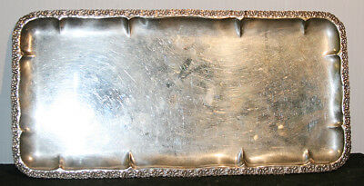 Vintage Ezada 800 Silver Serving Tray – Israel – Patterned Rim – Not Footed