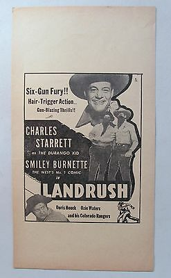 movie broadside 1946 CHARLES STARRETT in LANDRUSH