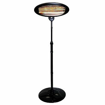 NEW Black 2000W Free Standing Quartz Outdoor Electric Garden Patio Heater BBQ UK