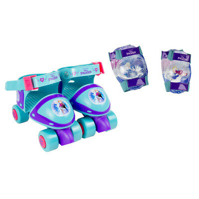 NEW! Disney Frozen Kid's Adjustable Quad Roller Skates With Elbow Pads And Knee
