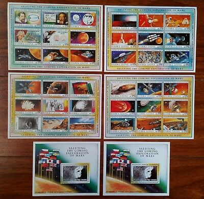 Saluting the Coming Exploration of Mars - Sierra Leone 38 stamps