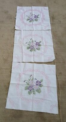 """3 Vintage 17.5"""" Quilt Blocks w/ FLOWERS & Frame Hand Cross Stitched Embroidered"""