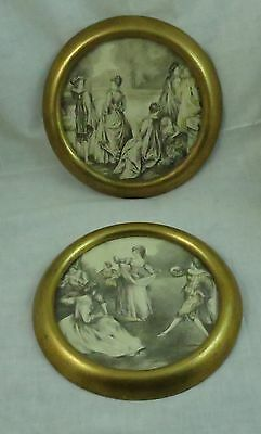 2 Beautiful French Victorian Ladies Dancing Scenic 19th C. Framed Engravings