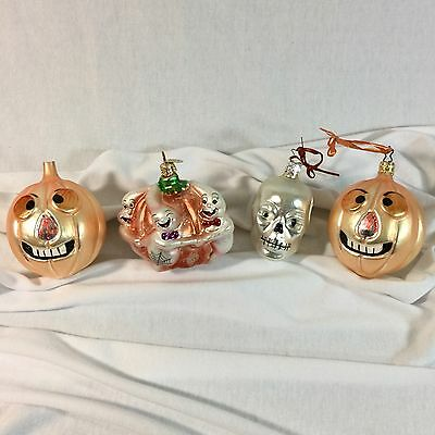 Vtg Halloween Ornaments Glass Lot of 4 Radko West Germany Jack O Lantern Skull