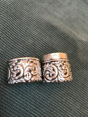 Sterling silver sewing thread spool box repousse