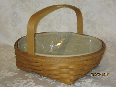 Longaberger 2009 Fancy Round Pie Basket Combo - Wheat Linen Liner & Protector