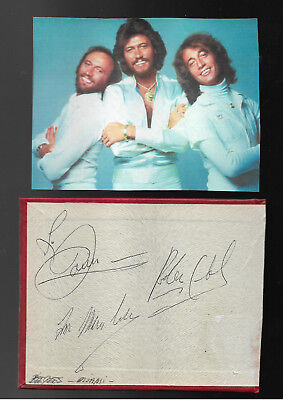 Bee Gees - Vintage In Person Genuine Hand Signed Autograph With Picture.