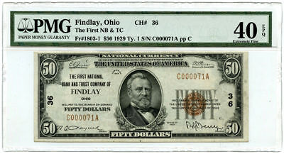 1929 Type 1 $50 The First National Bank & Trust Co. Findlay, OH PMG XF-40 EPQ