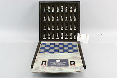Complete Vintage Franklin Mint Civil War Pewter Chess Set And Board