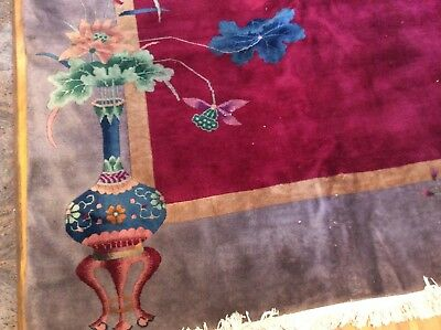 Authentic Antique Chinese Nichols Art Deco Period Oriental Rug Hand Knotted 1930