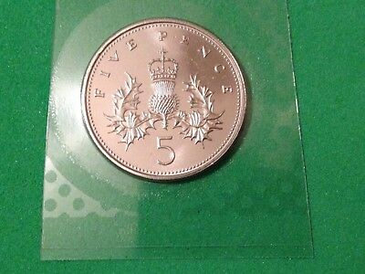 1993 Royal Mint CROWNED THISTLE BU brilliant uncirculated Five Pence 5p Coin