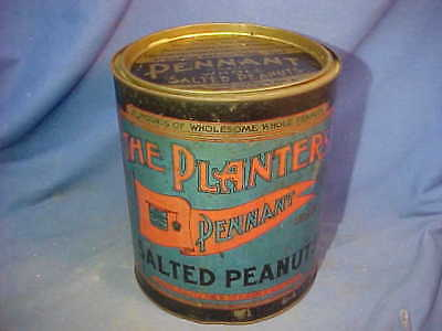 Early 20thc PLANTERS PENNANT Brand PEANUTS 10lb Countertop COUNTRY STORE TIN