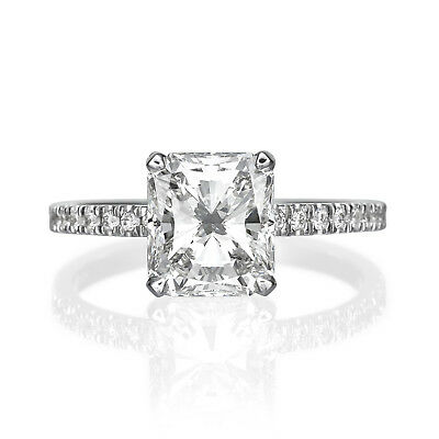GIA Certified 2.66 ct Radiant Cut H-VS2 Diamond Engagement Ring 18K White Gold