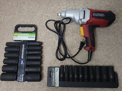 Chicago Electric Impact Wrench 1/2 in, Pittsburgh Deep Socket Sets 10mm-32mm GUC
