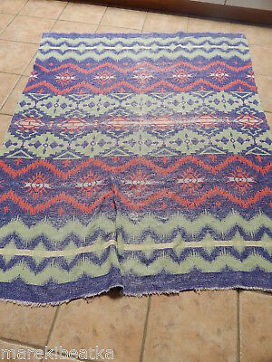 ANTIQUE 1920's BEACON  INDIAN GEOMETRIC DESIGN COTTON BLANKET FOR CUT, CRAFT
