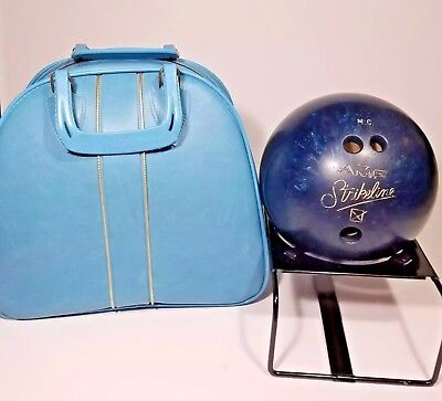 Vintage AMF Strikeline Bowling Ball Blue Marble 12 lbs with Bag