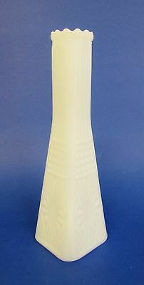 Vintage * Eiffel Tower Angular/Square Shaped * White Thick Milk Glass * Bud Vase