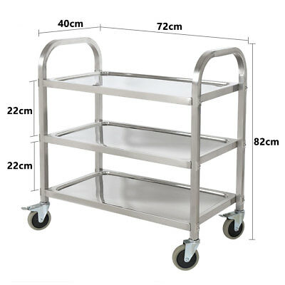 3 Tier  Stainless Steel Trolley Cart Kitchen Dining Service Food Utility Medium