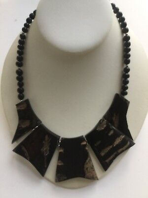 Vintage Runway Ebony Collar Plate Festoon Necklace