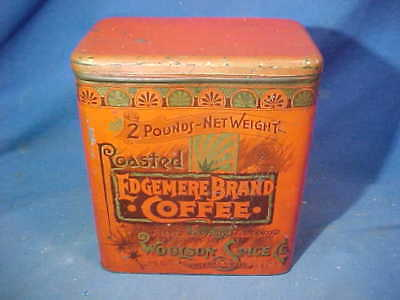 19thc EDGEMERE Brand COFFEE Advertising 2lb TIN From WOOLSON SPICE Co